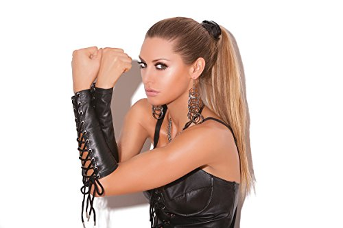 Women's Leather Lace Up Gloves(One Size, Black) ()