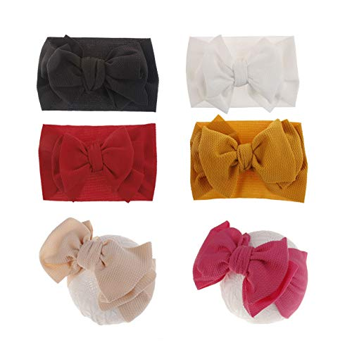 2019 Big Hair Bow Baby Headbands Knot Headwrap Nylon Elastic Head Wraps for Newborn Infant Toddler Hair Accessories (2019-B 6Pack)