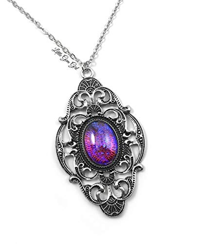 - Little Gem Girl Large Mexican Fire Dragons Breath Opal Gothic Victorian Necklace Silver w/ 20 Inch Chain