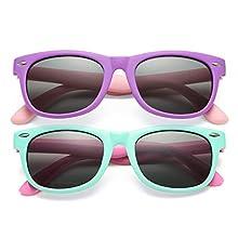 Kids Polarized Sunglasses TPEE Rubber Flexible Shades for Girls Boys Age 3-10 (Purple/Grey + Mintgreen/Grey)