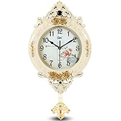 AsureQ 12 European Vintage Style Pendulum Wall Clock Elegant Traditional Design Decorative Non-ticking Silent (Beige)