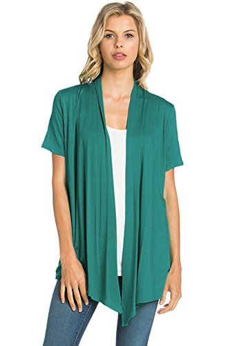 12 Ami Basic Solid Short Sleeve Open Front Cardigan Jade Small