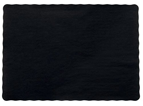 50 Black Paper Place Mats Scalloped Edge 10x14
