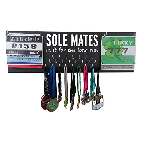 RunningontheWall Valentines Day Runners Medal Rack and Bib Hanger Valentines Gift for Running Lovers, Running Shoes Lover Sole Mates, in it for The Long Run Double Race Bibs Medal Holder - Double Bib