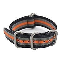 Banda de reloj ArtStyle con correa de material de nylon de colores y hebilla cepillada resistente (negro /gris /naranja, 22 mm)