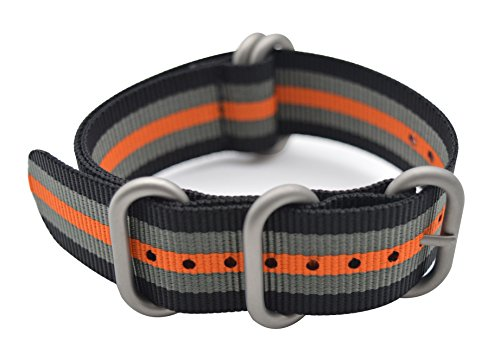 - ArtStyle Watch Band with Colorful Nylon Material Strap and Heavy Duty Brushed Buckle (Black/Grey/Orange, 22mm)