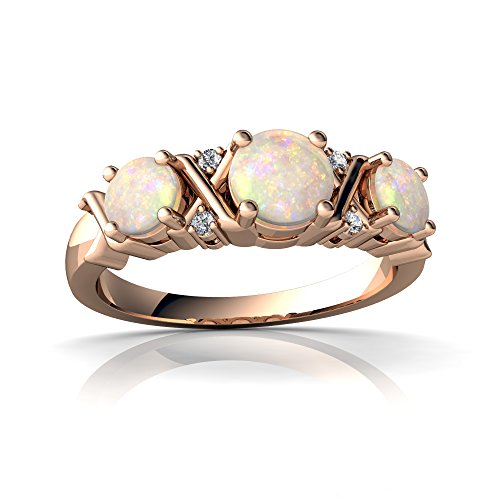 14kt Rose Gold Opal and Diamond 4mm Round Hugs and Kisses Ring - Size 6