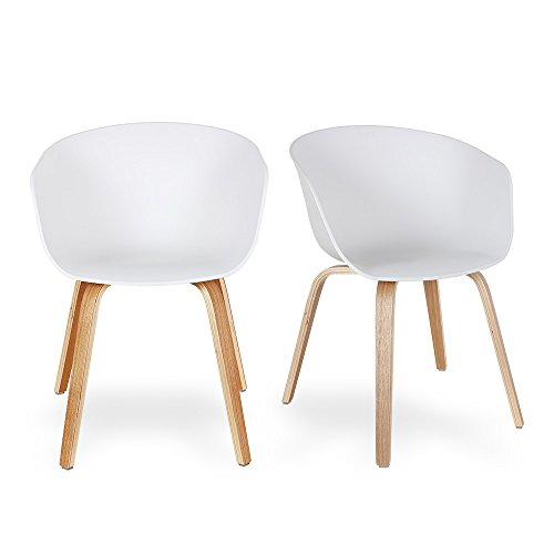 Set of 2 White Dining Creative Eames Eiffel DSW Style Chair by Santang Modern Simple Lounge Chair with Natural Wood Legs for Dining Room Office Waiting Room