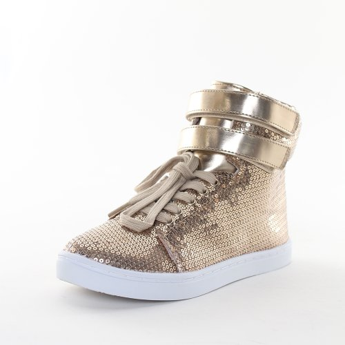 Qupid Donna Trivia-61bx Sneakers Alte In Taupe Satin Taglia 6.5