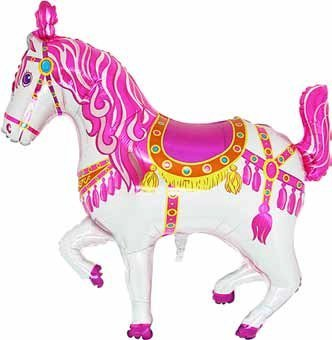 Grabo 35 Inch Pink Circus/ Carousel/ Carnival Horse Shaped Foil Balloon -