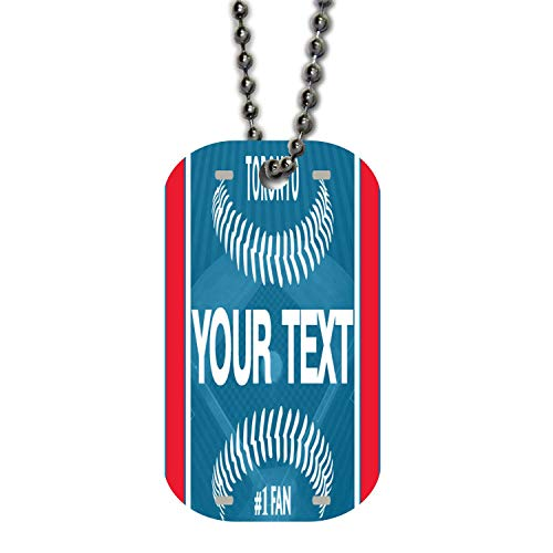 BRGiftShop Personalize Your Own Baseball Team Toronto Single Sided Metal Military ID Dog Tag with Beaded ()