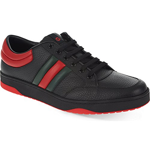 Gucci Men's Contrast Padded Textured Leather Lace-up Trainer Sneaker, Black (Nero) 407330 (9.5 US/9 UK)