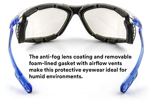 3M Safety Glasses, Virtua CCS, ANSI Z87, Anti-Fog, Indoor/Outdoor Mirrored Lens, Blue Frame, Corded Ear Plug Control System, Removable Foam Gasket