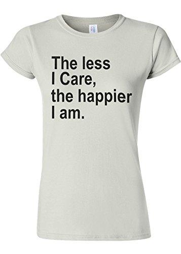 最初に花束拳The Less I Care Happier I am Novelty White Women T Shirt Top-M