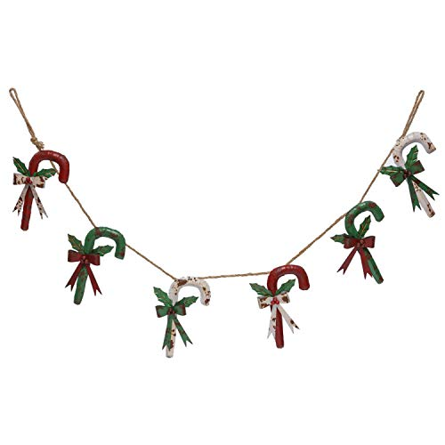 Vintage Rustic Metal Red, Green, and White Christmas Candy Cane Garland Hanging Holiday Decoration