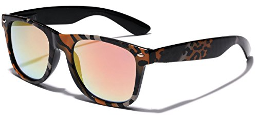 Animal Print Sunglasses - Retro Fashion Jungle Animal Print Sunglasses with Rainbow Mirror Lens