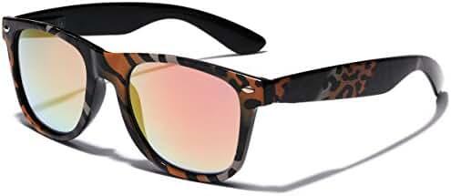 Retro Fashion Jungle Animal Print Sunglasses with Rainbow Mirror Lens