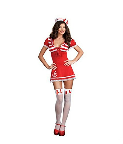 New Sexy Sailor Girl Uniform Adult Halloween Costume Womens U.S. XL (Maiden Voyage Costume)