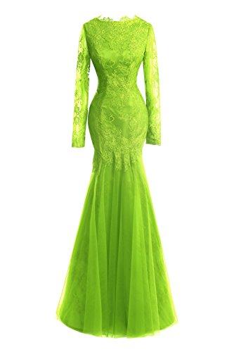 Da Lunghe Donne Pizzo Per Da Lime Sirena Maniche Da A Vestito Promenade Verde Dora Le Di Sera A Appliques Abiti Sposa 5UnwxqPz4