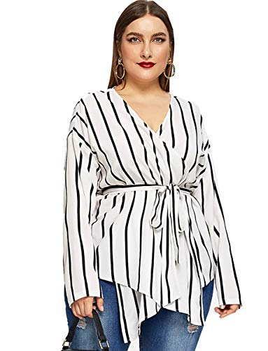 Romwe Women's Plus Elegant Stripe Print Long Sleeve Belt Work Peplum Wrap Blouse Top White 1XL