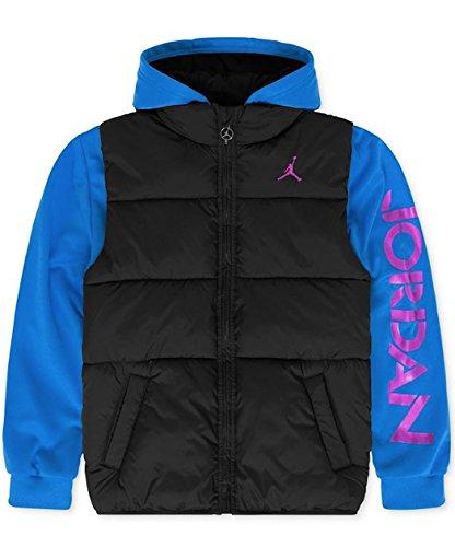 Jordan Boys' Puff Vest Hooded Jacket Black/Blue Size M, L (L (12-14), Black/Sport Blue) (Black And Blue Jordans compare prices)