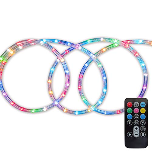 - Morning Star Remote RGB LED Rope Light Color Changing 120v Plugin Extendable Indoor/Outdoor Use for Garden Patio Windows Party Event