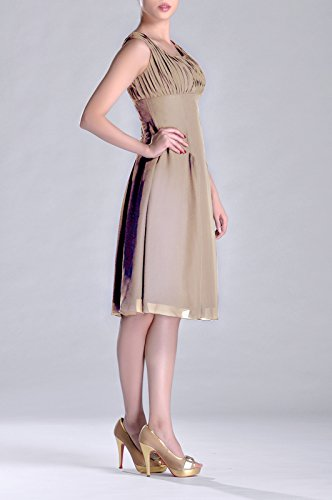 Length the Pleated of Occasion Knee Dress Special Brides Mother Formal champagnerfarben Bridesmaid TwqHECU