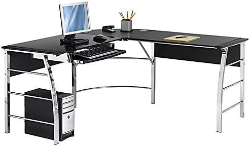 Realspace Mezza L-Shaped Desk, Black Chrome