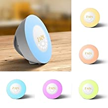 [2017 New]Wake Up Light Alarm Clock, Kobwa Sunrise Sunset Simulation Morning Alarm Clock FM Radio, Baby Kids Night Light Lamp With 7 Touch Sensor Atmosphere Colors and 10 Brightness Beside Lamp