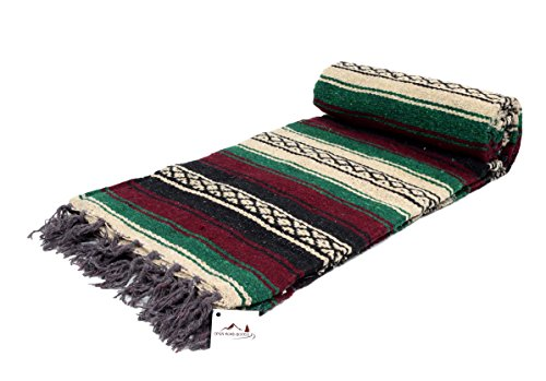 Mexican Blanket Maroon Colors Blanket