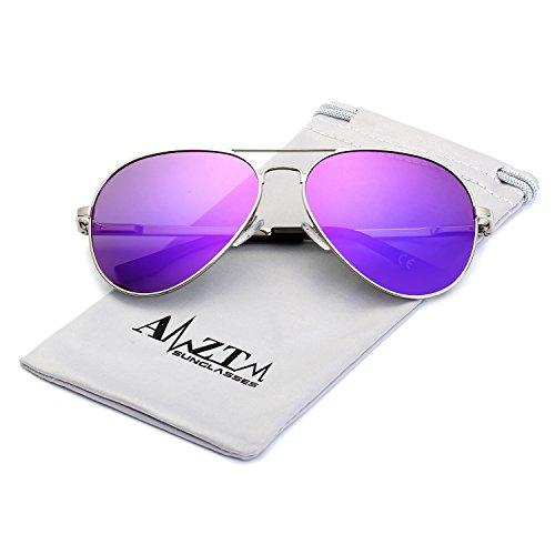 sol de Gafas marco polarizadas Metal aviador espejo doble revo puente de Morado lentes amztm gfqvB8