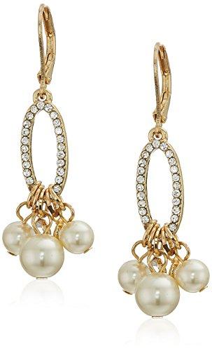 Klein Anne Gold Tone Earrings (Anne Klein Women's Gold Tone Pearl Shaky Drop Earrings, Pearl, One Size)
