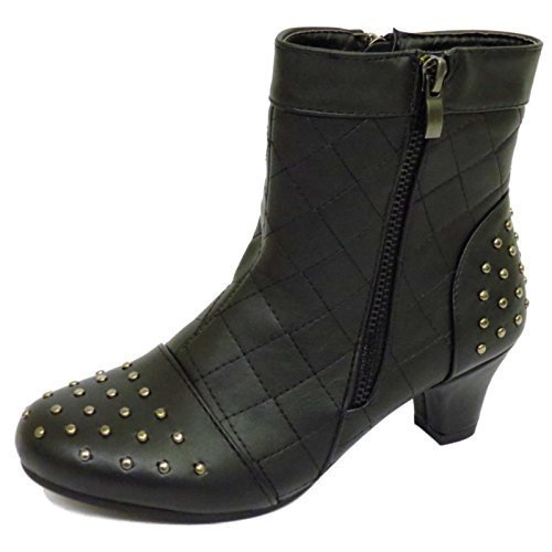 Kinder Mädchen Schwarz Reißverschluss Stecker Niedriger Absatz Stiefeletten Schuhe Turnschuhe UK 10-6