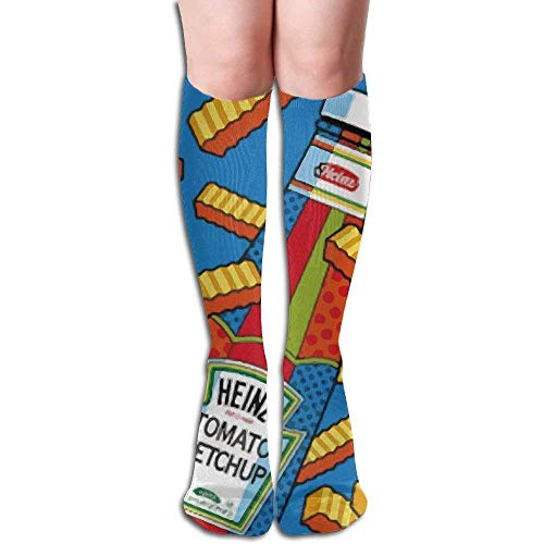 High Chair French (French Fries And Ketchup Women's Fashion Knee High Socks Casual Socks)