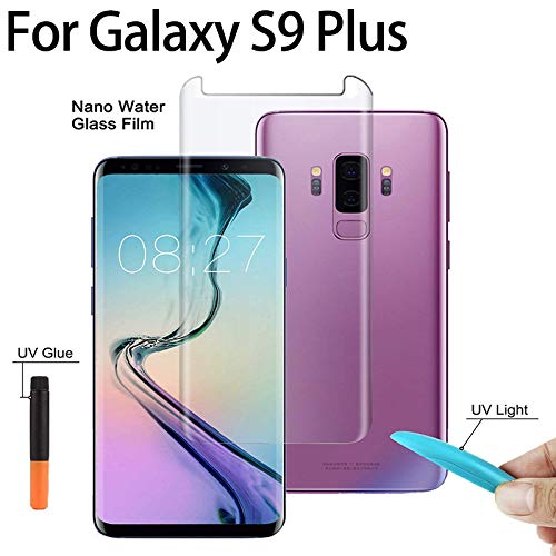 Auswaur Galaxy S9 Plus Screen Protector Tempered Glass [Liquid Dispersion Tech] with UV Light 3D Curved Case Friendly Glass Compatible with Galaxy S9+ Screen Protector