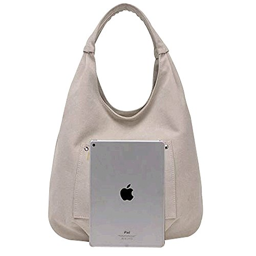 Bag Structured Canvas Women's Beige Pleated Tote Bag Shoulder Hobos Flowertree XwtSvvx
