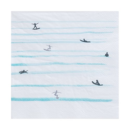 (Fire and Creme Surf Large Foiled Party Paper Napkins Silver White and Blue Watercolor 13 x 13