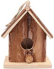 TOPBATHY Wood Bird Houses for Outside Hanging Garden Decor Birds Nest Box Cage Feeder