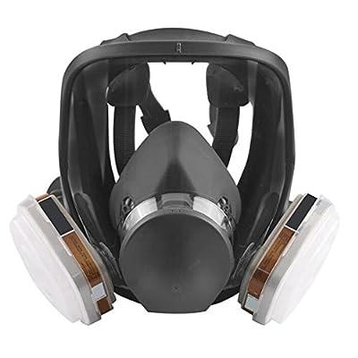 Zinnor Full Face Gas Mask Organic Vapor Respirator w/Activated Carbon Respirator, Anti-formaldehyde/Spray Paint/Chemical / Pesticide/Fire / Fog/Antivirus