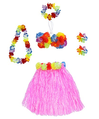 6 Pieces Girl's Hawaiian Hula Skirt fedio Grass Skirt set with Hawaiian Luau Party leis and Bra for Children Ages 3-8 (Pink) (Hawaiian Hula Skirt)