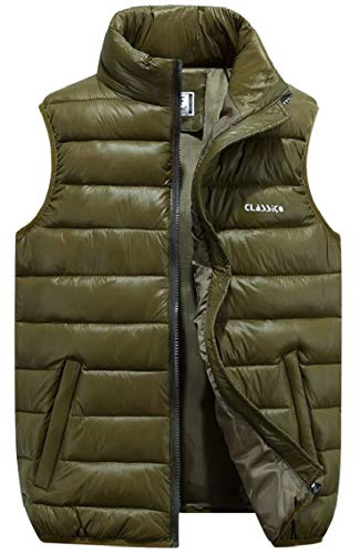 Puffer Coat Winter Green Gocgt Down Army Vest Jacket Packable Sleeveless Mens wqPOS7FH