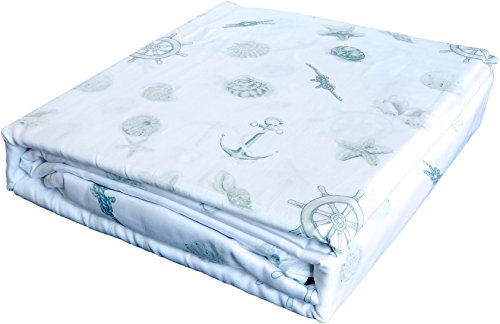 Nautical Castaway Sage Green Seashells Starfish Ship Wheels Anchors Ropes on White 4 pc Sheet Set - (Newport Cotton Sheet Set)