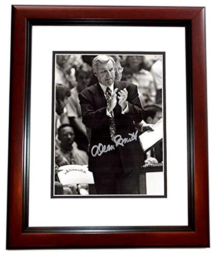 (Dean Smith Signed - Autographed North Carolina Tar Heels UNC 8x10 inch Photo MAHOGANY CUSTOM FRAME - Deceased 2015)