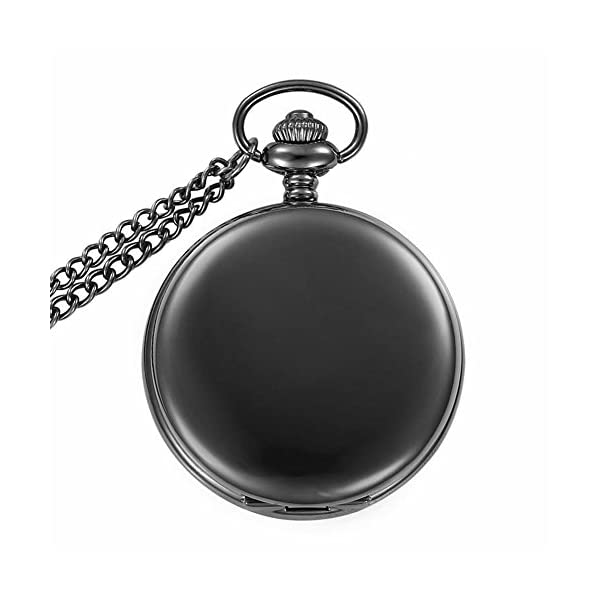 Jechin Classic Retro Smooth Pendant Pocket Watch- Gun Black with 14'' Stainless Steel Chain