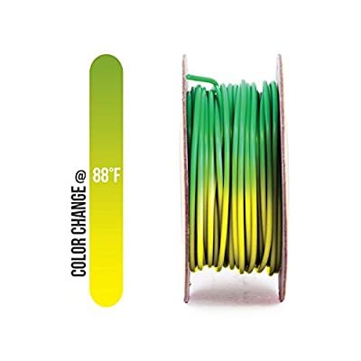 Gizmo Dorks PLA Filament 3mm (2.85mm) 200g for 3D Printers, Heat Color Change Green to Yellow