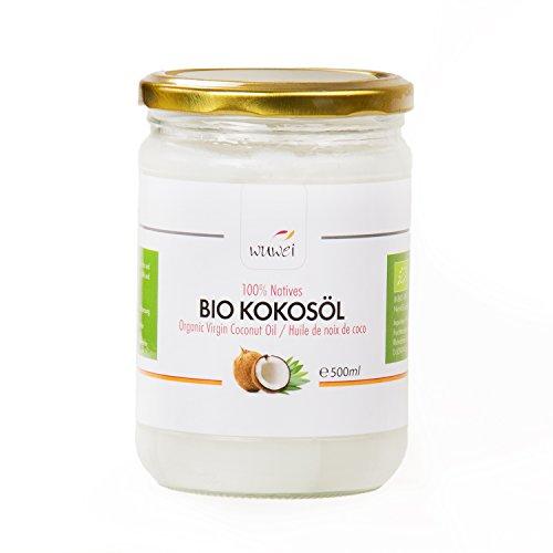 500 ml Bio Kokosöl, 100% nativ und kaltgepresst, für cholesterinfreie Ernährung & Ayurveda, vielseitig verwendbar, auch für die Haut und Haare, Premium Kokosnussöl