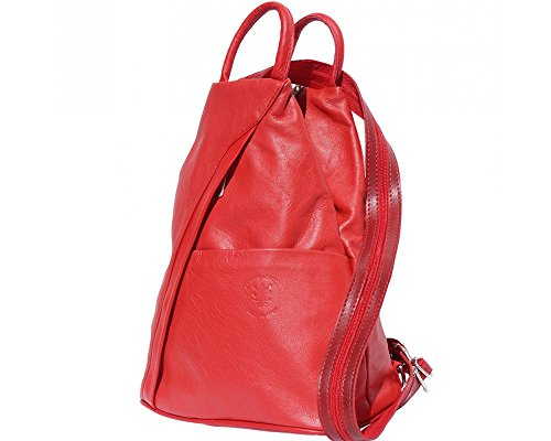 Italian Dark in Backpack Handcrafted Red Italy 2061 Bag Light Leather Shoulder Florence Brown R4rHwcqRgx