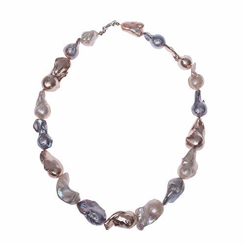 HONG BOCK collier baroque de perles d'eau douce avec nucléaire dans des tailles blanc-kreme-grau.ca15x17mm et 45cm de long avec 925 Karabiener