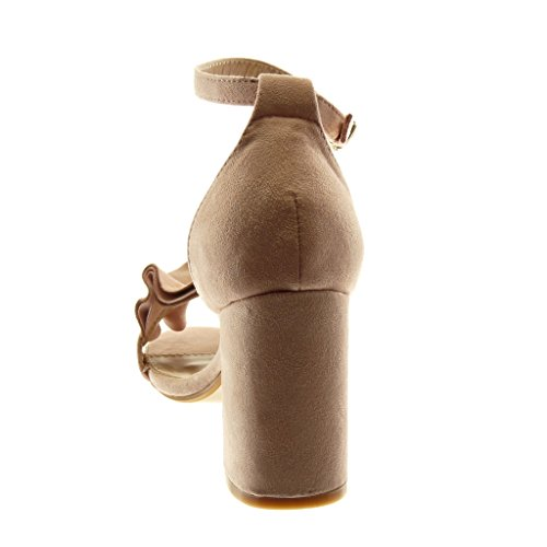 Angkorly Women's Fashion Shoes Sandals - Ankle Strap - Ruffle - Thong Block High Heel 8.5 cm Pink TLJMv3