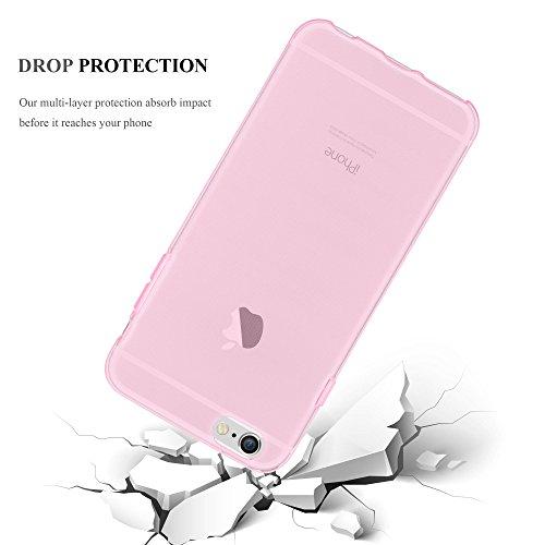 Cadorabo - Apple iPhone 6 / 6G / 6S Cubierta protectora de silicona TPU en diseño AIR - Case Cover Funda Carcasa Protección en TRANSPARENTE TRANSPARENTE-ROSA